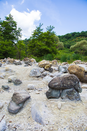 Stones stained with sulfur in the monterano natural