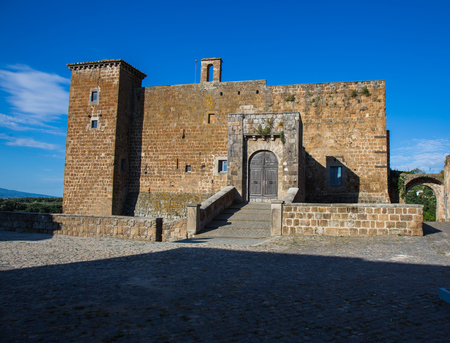 View of a glimpse of the Orsini castle in Celleno in the Lazio region in Italy.