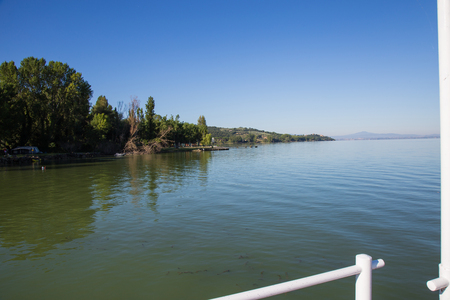 View of Lake Trasimeno on a clear day