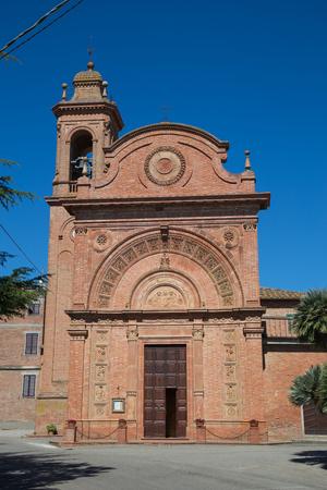 Church built with red bricks in Villastrada Umbria.