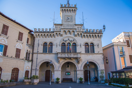 curative: City Hall in Fiuggi with exposed flags of Italy and Europe