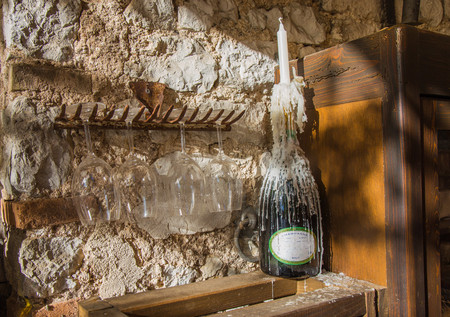 Candle wax casting of a bottle of champagne Banco de Imagens