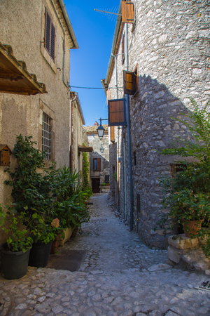 View of an old alley in Fumone Lazio in Italy Stock Photo