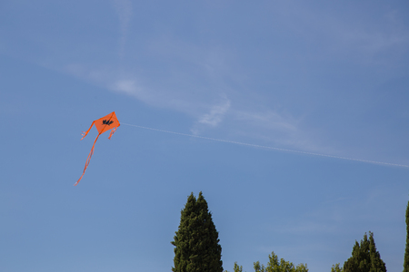 Orange kite attached to a wire on a background of blue sky Stock Photo