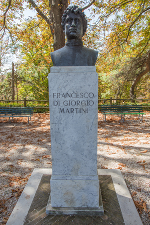 Half-length statue pedestal depicting Francesco Di Giorgio Martini.Urbino, Italy.