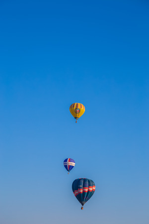 Hot air balloons in flight during a performance