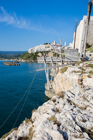 Trabucco on the cliff near Vieste in the Gargano in Puglia