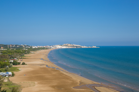 eponymous: Vieste beach with the eponymous town in the background