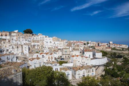 View of the town of Monte SantAngelo, Gargano. Stock Photo