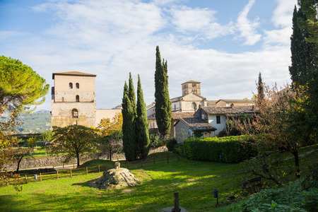 The ancient village of Farfa with Abbey and tower.Italia.