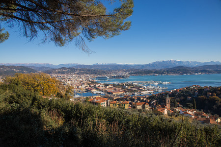 unloading: View of the Gulf of La Spezia with its port. Stock Photo