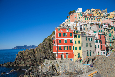 The Village of Riomaggiore with colorful houses in the Cinque Terre in Liguria, Italy.
