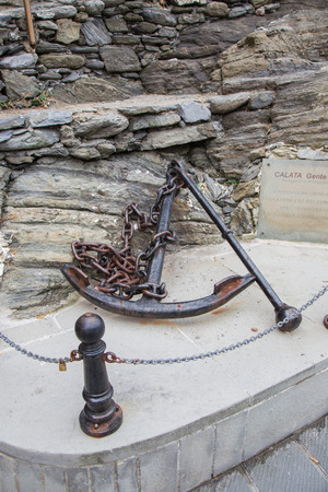 ship anchor: Old still monumental iron ship. Stock Photo