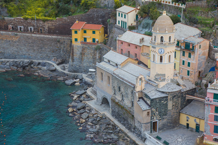 The village of Vernazza seen from above with typically colorful houses in the Cinque Terre in Liguria, Italy. Stock Photo