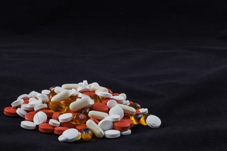 Medicinal colored pills and ova gel.