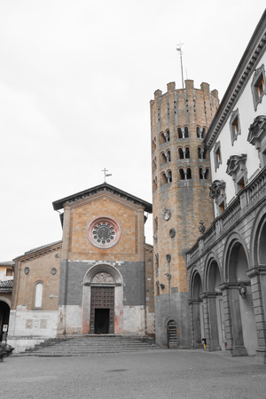 terni: View of the Church of SantAndrea with twelve-sided bell tower set against the palace in Orvieto Umbria.Italia.