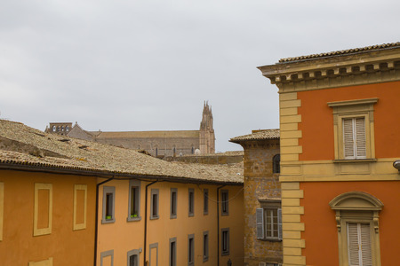 terni: Orvieto Houses with partial views of the Cathedral in the background.