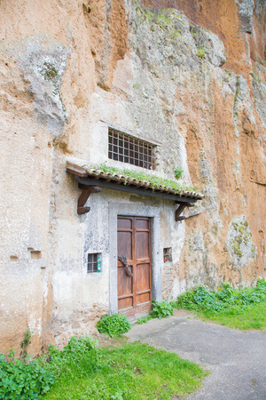 The Church S. Crocefisso del Tufo Orvieto, dug in the tuff can be encountered along the ring of the cliff. Stock fotó