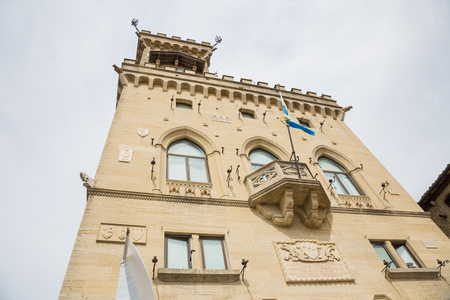Public Palace in San Marino.San Marino.Republic of San Marino.The San Marino public palace is also known as the Government Palace, and is the place where the official ceremonies and headquarters of the major institutions take place. Редакционное