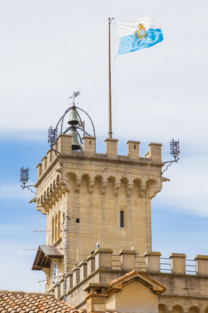 Tower of the Public Palace of San Marino.Republic of San Marino.The San Marino public palace is also known as the Government Palace, and is the place where the official ceremonies and headquarters of the major institutions take place. Editorial