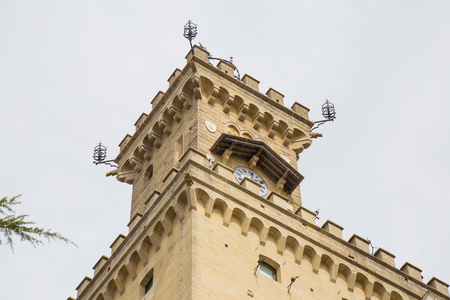 View of the Tower of the Public Palace in San Marino.Republic of San Marino.
