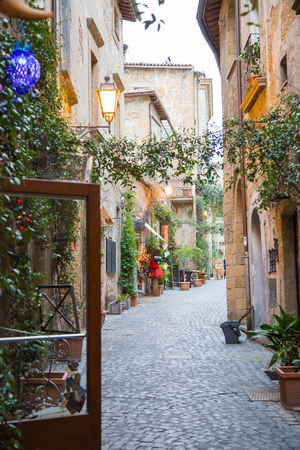 The alley in Orvieto located in the historic city center. Editorial