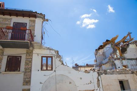 April 25, 2017, Camposto, province of LAquila, Abruzzo, Italy Damage caused by the earthquake. Ruined or seriously injured structures rendered ineffective after the earthquake that struck in that area, forcing the population to abandon their own Dwelli