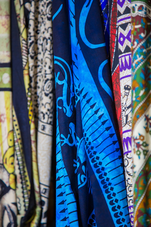 Colored fabric and drawn with animal symbols.