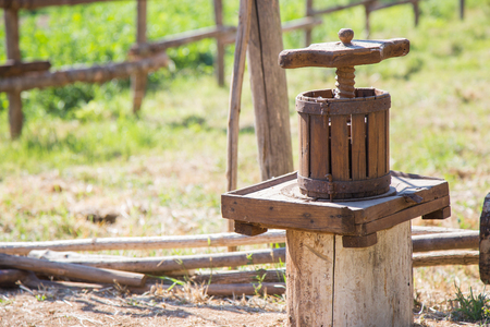 Small and old wooden press.Winepress