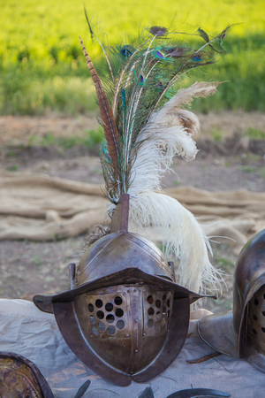 Iron helmet with peacock feathers and pheasant