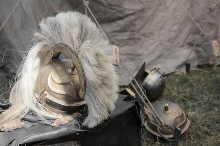 head protection: Protective helmet used by the Roman Legionaries. Stock Photo