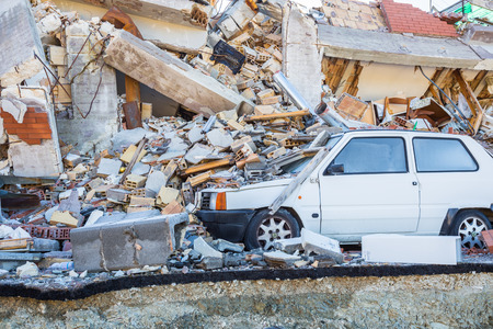 Retrosi of Amatrice,Italy,29 April 2017.The damage caused by the earthquake that hit central Italy in 2016. Retrosi of Amatrice,Italy,29 April 2017.