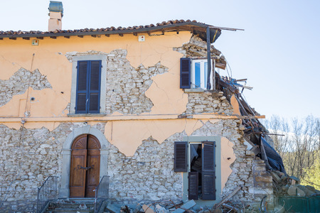 Cascello of Amatrice,Italy. 29 April 2017. The damage caused by the earthquake that hit central Italy in 2016. Cascello of Amatrice,Italy.29 April 2017