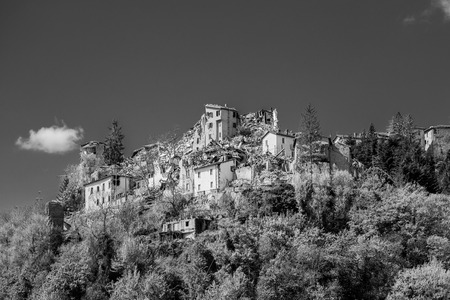 Arquata del Tronto,Italy. 29 April 2017. The damage caused by the earthquake that hit central Italy in 2016. Arquata del Tronto,Italy. 29 April 2017 에디토리얼