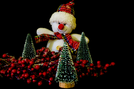 Snowman with branch of red berries and three Christmas trees on the black background. Stock Photo