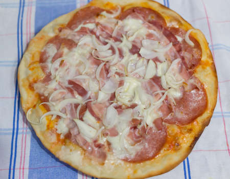 Italian pizza with tomato, salami, bacon and onion on a checkered tablecloth. Reklamní fotografie