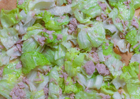 Homemade preparation of white pizza with tuna and salads. Reklamní fotografie
