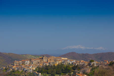 View of the town of Scandriglia in the province of Rieti, with the bell tower. Stok Fotoğraf