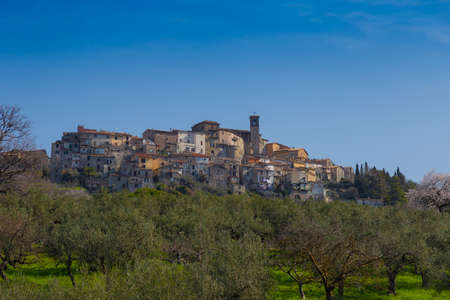 View of the town of Scandriglia in the province of Rieti, with the bell tower. In the foreground the olive trees.