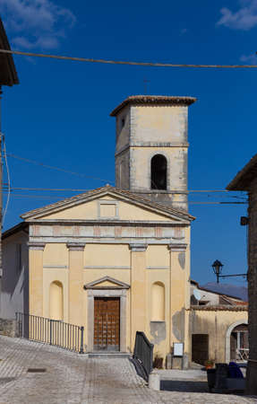 Orvinio, facade of the church of Santa Maria by recommended. Province of Rieti. Italy.