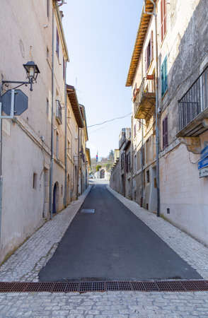 An old alley in the ancient village of Orvinio in the province of Rieti in Italy. Stok Fotoğraf