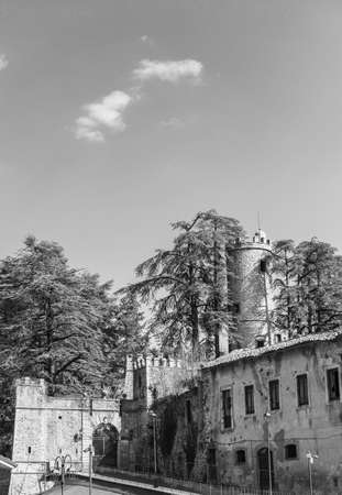 The old village of Orvinio in the province of Rieti with its castle. Black and white. Stok Fotoğraf