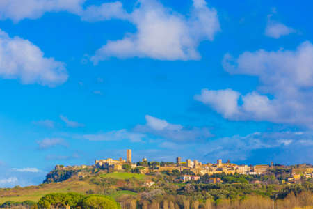 Panorama of the city of Tarquinia with the cloudy sky. Province of Viterbo, Italy. Stok Fotoğraf