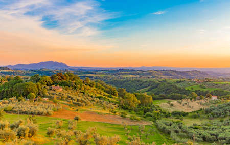 Panoramic view of the Sabina countryside with Mount Soratte in the background in Lazio in Italy. Stok Fotoğraf