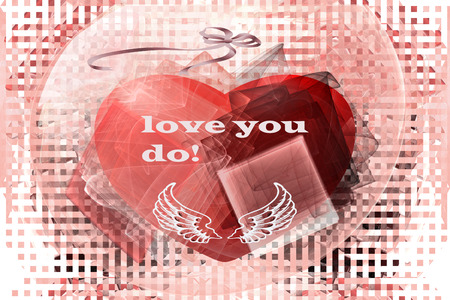 beguin: Card on Valentines Day with a heart and the text love you do! Stock Photo