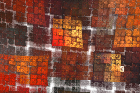 burgundy: Fractal tiles in red, orange, burgundy and yellow over white Stock Photo