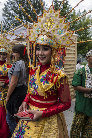 Moscow, Russia - August 04, 2017:  Festival of Indonesia. Beauties from Indonesia. Beautiful girl in national indonesian clothes. Editorial