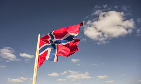 Realistic waving flag of Norway in the breeze 写真素材