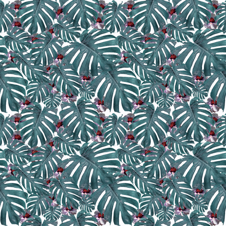 Seamless pattern of exotic leaves and flowers. Tropical garden. Dreams of summer.