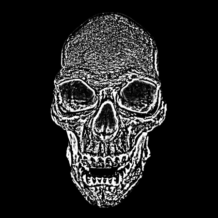 Abstract symbol of death - the skull, reminding that everything has an end. Skull pattern on black background.  Black and white design.